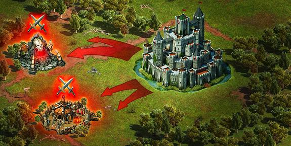 Schlachtfeld auf der Karte